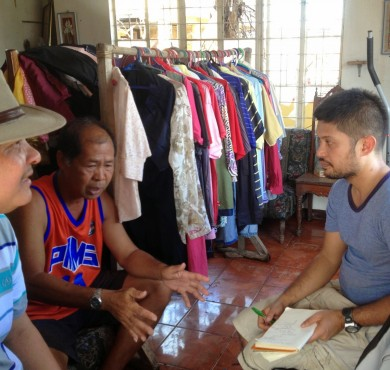 Interviewing community members affected by Typhoon Haiyan